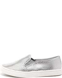Report Arvon White Perforated Slip On Sneakers