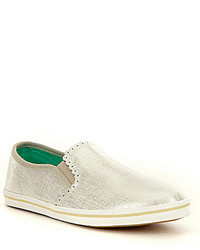 Jack Rogers Bennett Etched Metallic Leather Mini Scalloped Slip On Sneakers