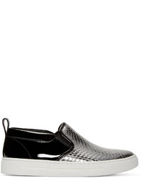 Marc by Marc Jacobs Black Silver Leather Broome Sneakers