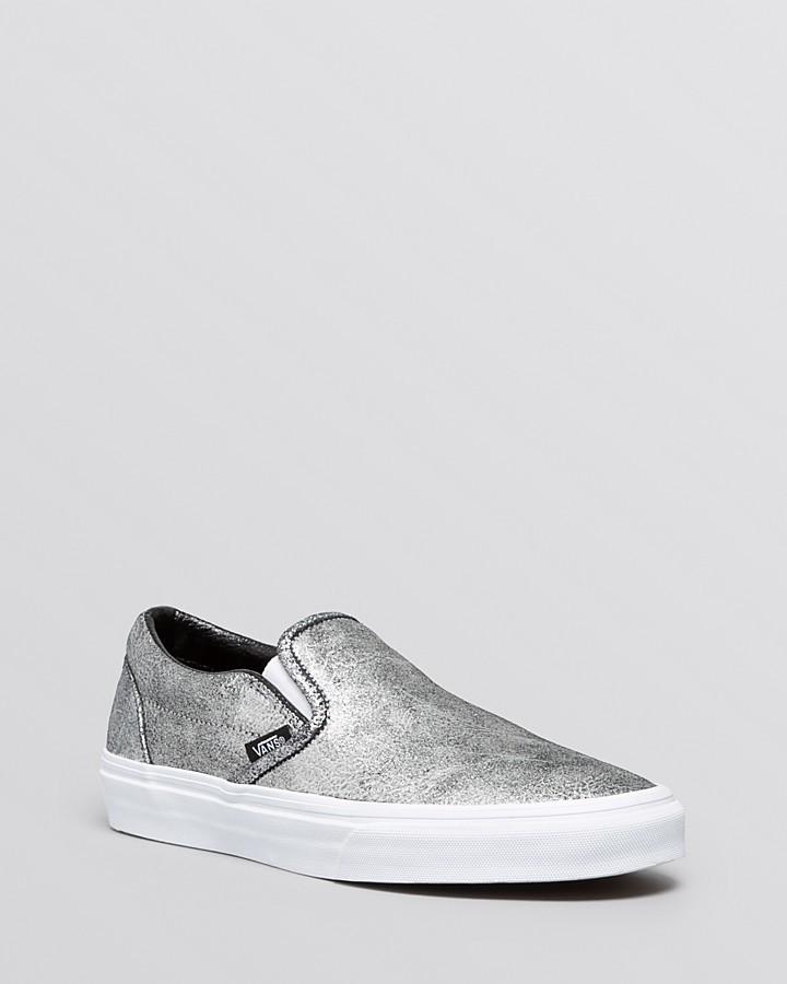 6e0dcb5b921c ... Vans Flat Slip On Sneakers Classic Metallic