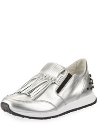 Tod's Kiltie Fringed Metallic Leather Slip On Sneaker Silver