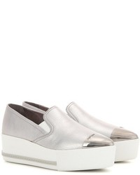 Miu Miu Leather Platform Slip On Sneakers