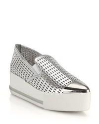 Miu Miu Metal Cap Toe Leather Platform Sneakers