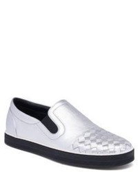 Bottega Veneta Metallic Intrecciato Leather Slip On Sneakers