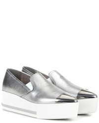 Miu Miu Metallic Leather Platform Slip On Sneakers