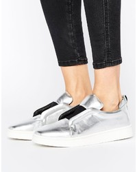 Sol Sana Mickey Slip On Silver Leather Sneakers