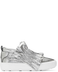 MSGM Silver Metallic Ruffle Slip On Sneakers