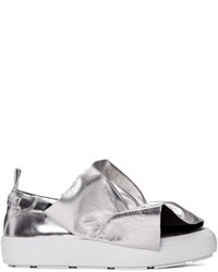 MSGM Silver Ruched Slip On Sneakers