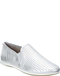 Ecco Touch Slip On Sneaker Silver Metallic Leathernubuck Golf Shoes