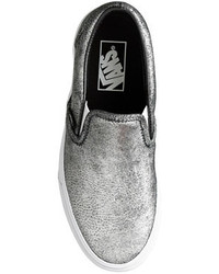 45d860d7f9a90a ... Vans Unisex Classic Slip On Sneakers In Metallic Silver Leather ...