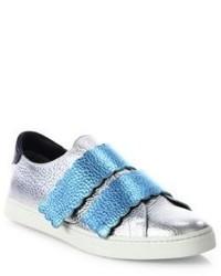 Fendi Biscuit Metallic Leather Grip Tape Sneakers