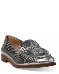 Lauren Ralph Lauren Brindy Metallic Leather Croc Embossed Loafers