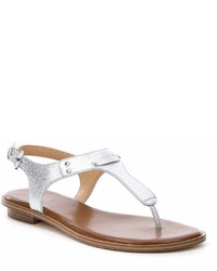 MICHAEL Michael Kors Michl Michl Kors Mk Plate Saffiano Leather Thong Sandals