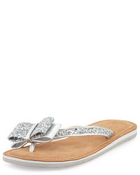 Kate Spade New York Icarda Glitter Bow Flat Thong Sandal Silver