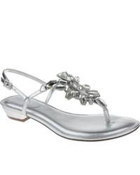 Nina Kaylene Silver Foil Thong Sandals