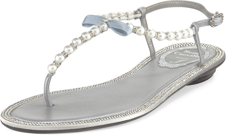 ffc95a3d23cd ... Rene Caovilla Pearly Crystal Flat Thong Sandal Silver ...