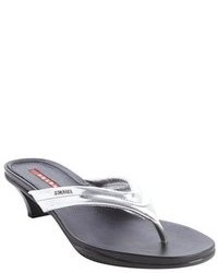 Prada Silver Leather Logo Imprint Thong Strap Sandals