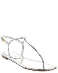Prada Silver Leather Thong Ankle Strap Sandals
