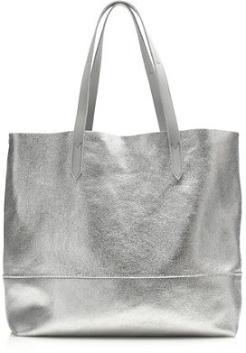 ... Silver Leather Tote Bags J.Crew Downing Tote In Metallic Leather ...