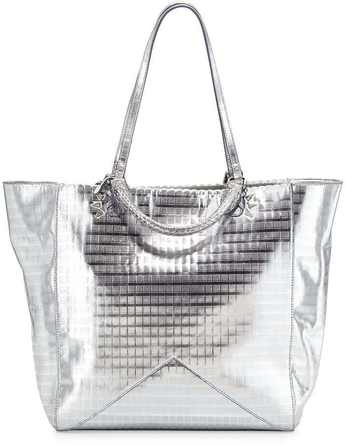 Rafe Joey Metallic Leather Tote Bag Silver Screen