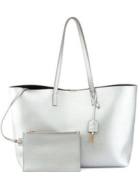 8912738e97 Women's Silver Leather Tote Bags by Saint Laurent   Women's Fashion ...