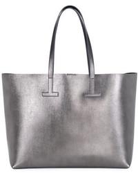 Tom Ford Medium T Saffiano Tote Bag Gray Metallic