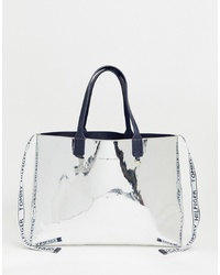 Tommy Hilfiger Metallic Tote Bag With Detachable Purse Logo Tape