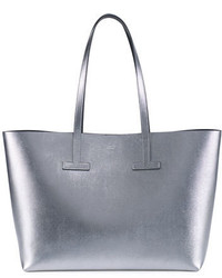 Tom Ford Small T Saffiano Tote Bag Silver