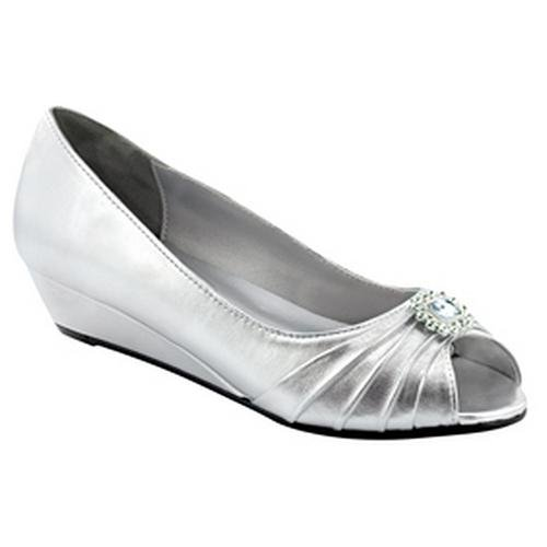 ee8ee2d0cdaf Dyeables Anette Silver Low Heel Wedge Peep Toe Dress Wide Width Shoes