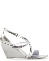 Silver Leather Wedge Sandals