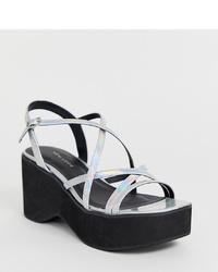 New Look 90s Flatform Sandal In Silver