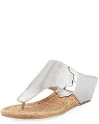 41619a60186653 ... Donald J Pliner Dart Lizard Embossed Sandal Silver