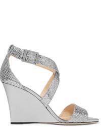 Jimmy Choo Fearne Glittered Leather Wedge Sandals Silver