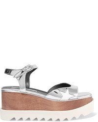 Stella McCartney Metallic Faux Leather Platform Sandals Silver