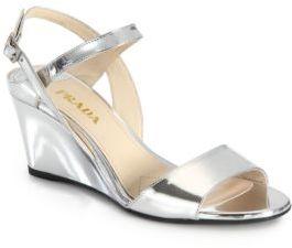 4f97f241f66d ... Silver Leather Wedge Sandals Prada Metallic Leather Wedge Sandals ...