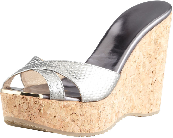1033c8a7eb6 ... Sandals Jimmy Choo Perfume Metallic Crisscross Cork Wedge Slide  Anthracite ...