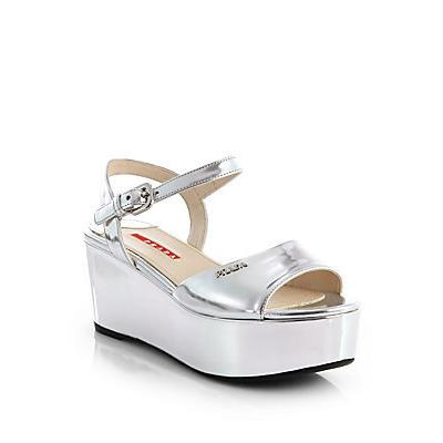 b8c4286f1e Prada Metallic Leather Platform Wedge Sandals Argento Silver, $490 ...