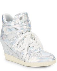 Ash beck perforated metallic leather wedge sneakers medium 159593
