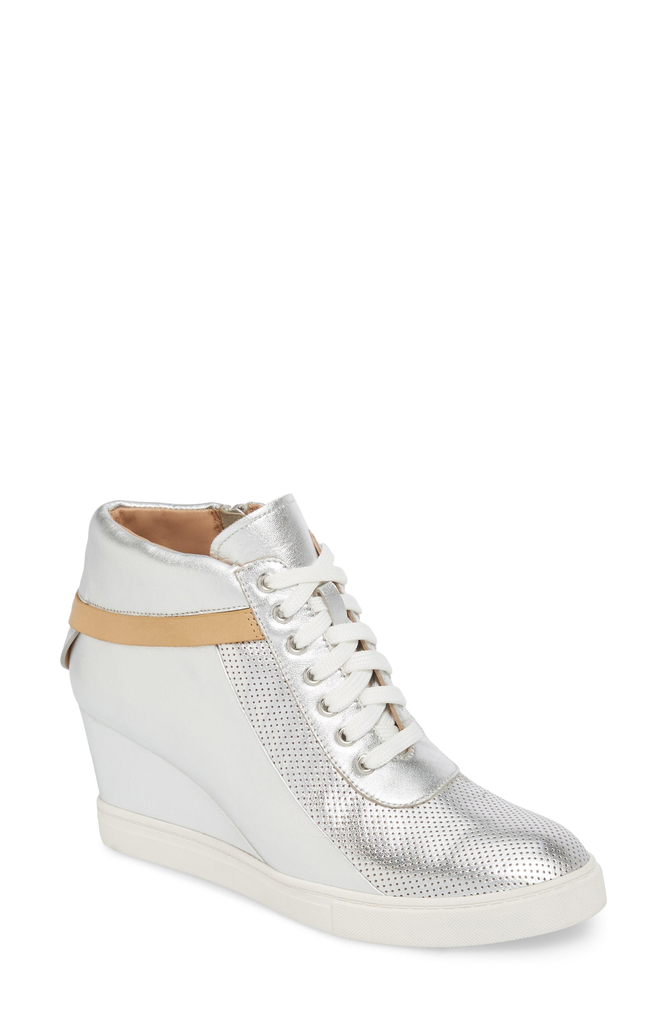 f3bfa802b13e Freja Wedge Sneaker. Silver Leather Wedge Sneakers by Linea Paolo