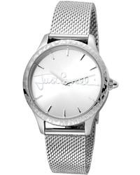 Just Cavalli 34mm Logo Stainless Steel Bracelet Watch W Leopard Bezel Silver