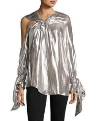 Agata long sleeve lam blouse silver medium 3640421