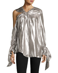 Agata long sleeve lam blouse silver medium 3640423
