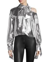 Harjava tie neck cold shoulder metallic top medium 5386710