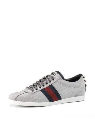 fbce97d1c ... Silver Low Top Sneakers Gucci Bambi Glitter Web Low Top Sneaker Gento  ...