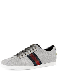 Gucci Bambi Web Low Top Sneakers With Stud Detail Silver