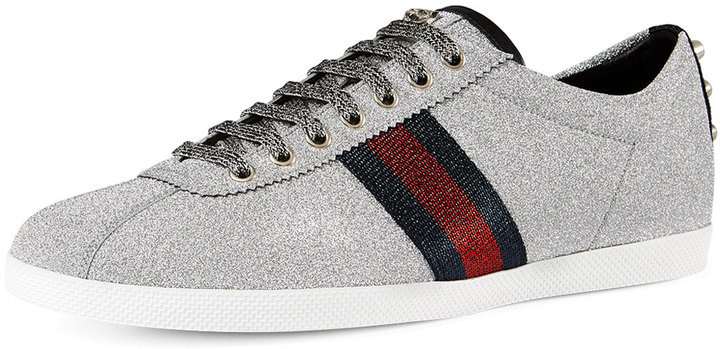 91943a276efa ... Gucci Bambi Web Low Top Sneakers With Stud Detail Silver ...