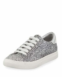 Marc Jacobs Empire Glitter Low Top Lace Up Sneaker Silver