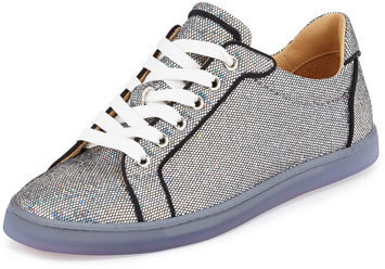 size 40 64e60 f32e8 $795, Christian Louboutin Seava Glitter Disco Red Sole Sneaker Silver