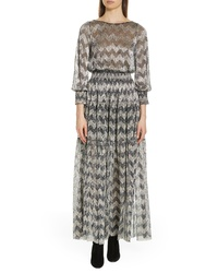 BA&SH Grey Metallic Zigzag Maxi Dress