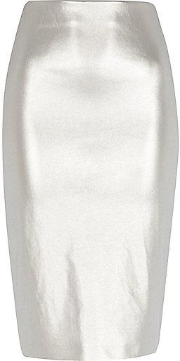 23929344b80 ... River Island Silver Metallic Pull On Pencil Skirt